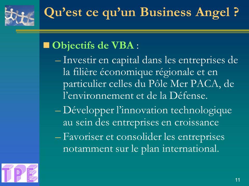 11 Objectifs de VBA : –Investir en capital dans les entreprises de la filière économique régionale et en particulier celles du Pôle Mer PACA, de l'environnement et de la Défense.