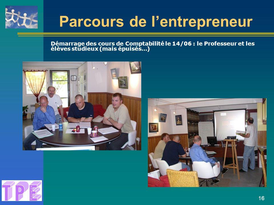 16 Parcours de l'entrepreneur Démarrage des cours de Comptabilité le 14/06 : le Professeur et les élèves studieux (mais épuisés…)