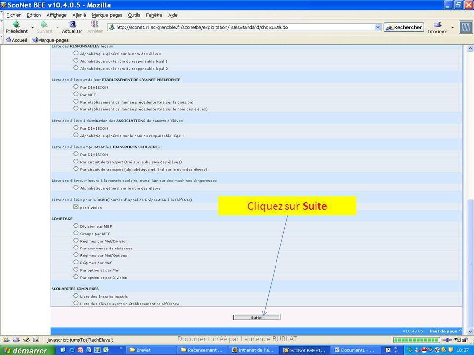 Cliquez sur Suite Document créé par Laurence BURLAT