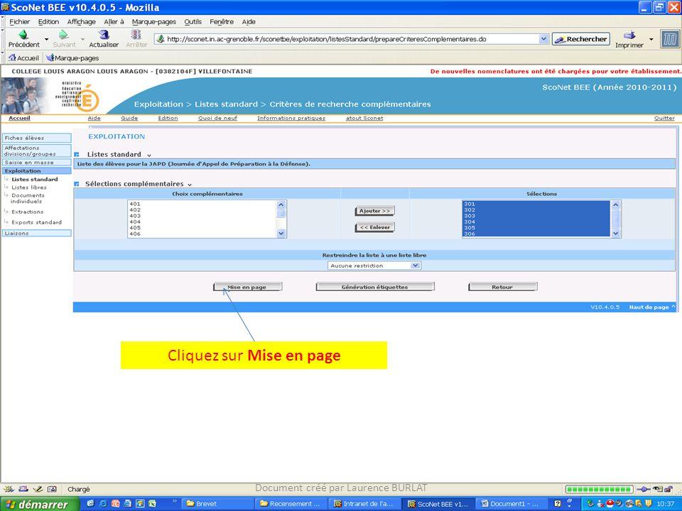 Cliquez sur Mise en page Document créé par Laurence BURLAT