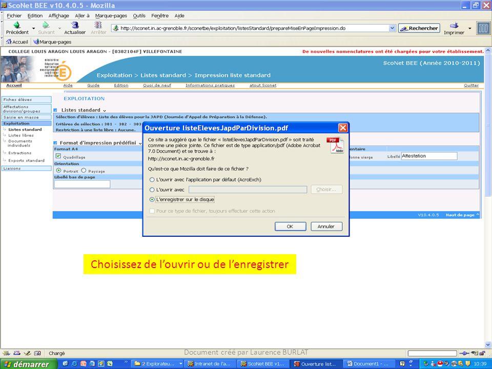 Choisissez de l'ouvrir ou de l'enregistrer Document créé par Laurence BURLAT