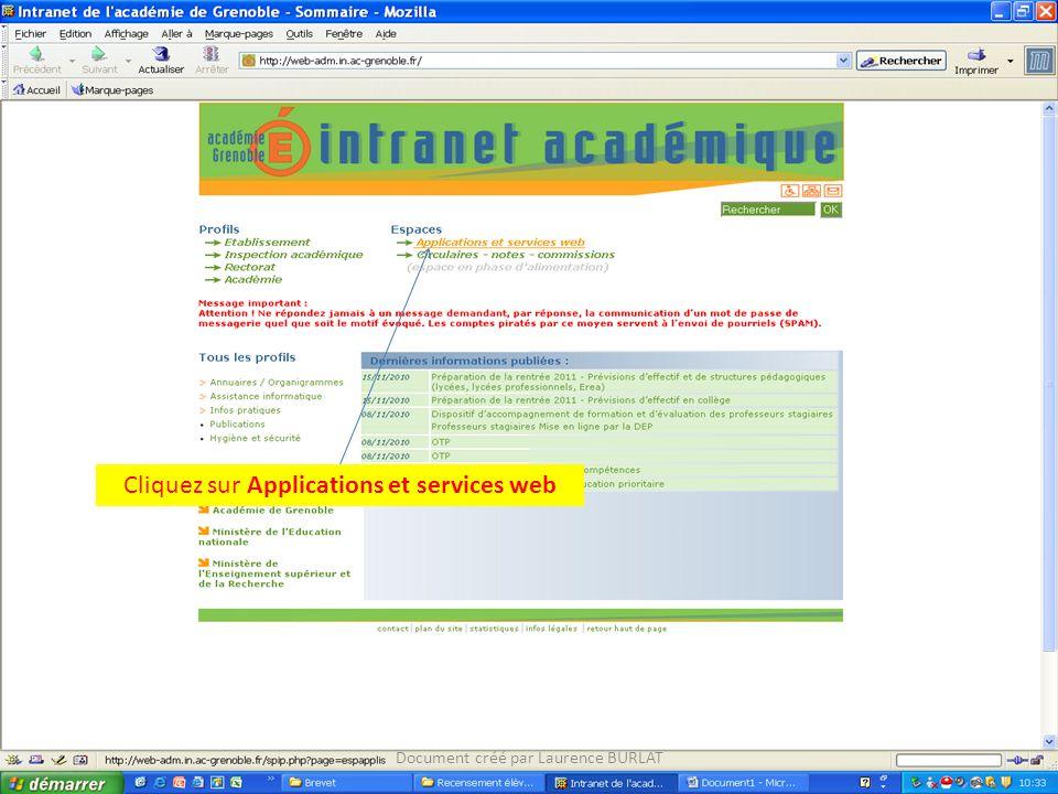 Cliquez sur Applications et services web Document créé par Laurence BURLAT