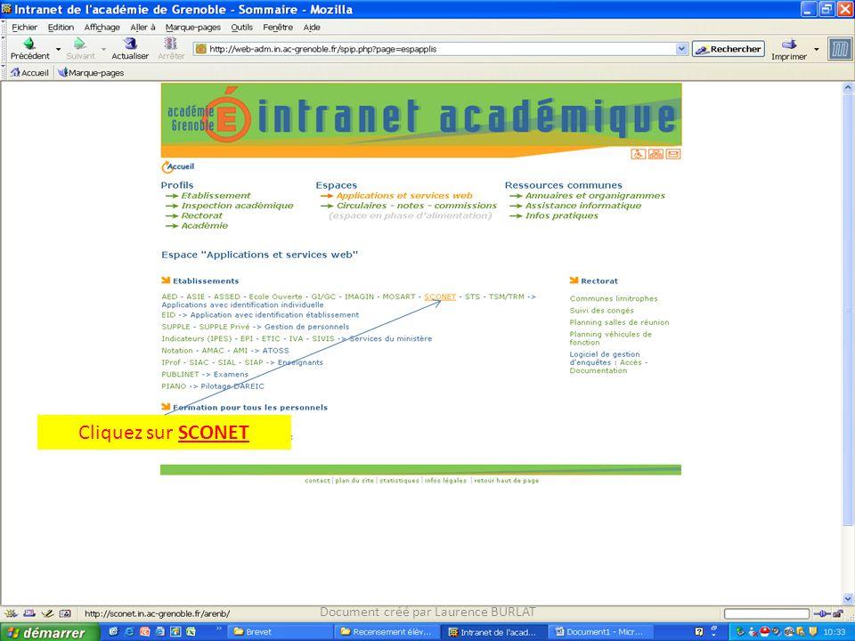 Cliquez sur SCONET Document créé par Laurence BURLAT