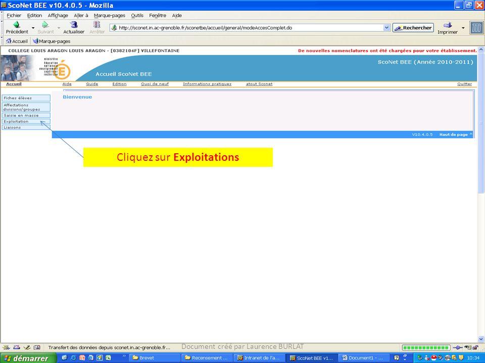 Cliquez sur Exploitations Document créé par Laurence BURLAT