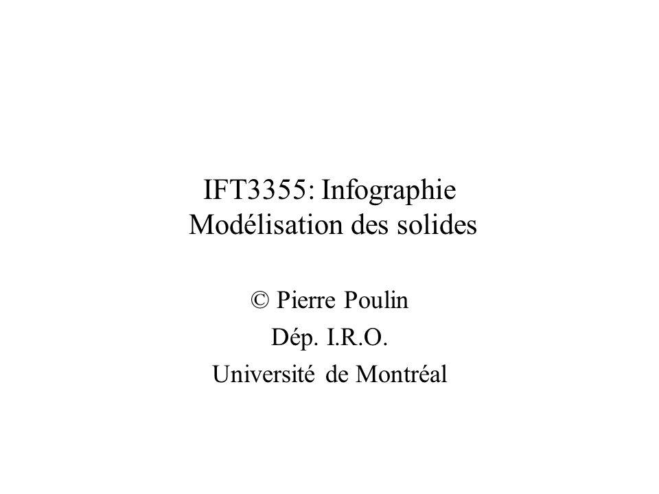 IFT3355: Infographie Modélisation des solides © Pierre Poulin Dép. I.R.O. Université de Montréal