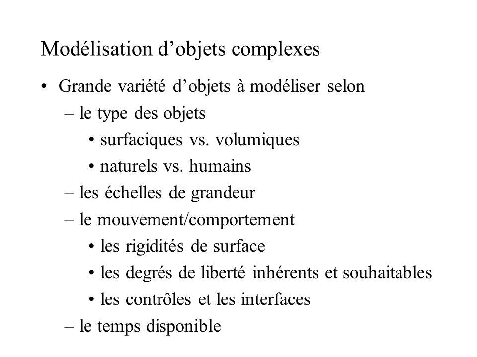 Modélisation d'objets complexes Grande variété d'objets à modéliser selon –le type des objets surfaciques vs. volumiques naturels vs. humains –les éch