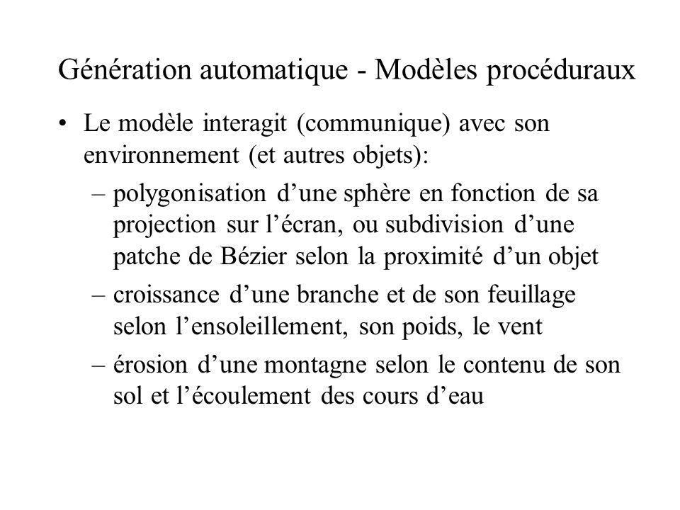 Génération automatique - Modèles procéduraux Le modèle interagit (communique) avec son environnement (et autres objets): –polygonisation d'une sphère