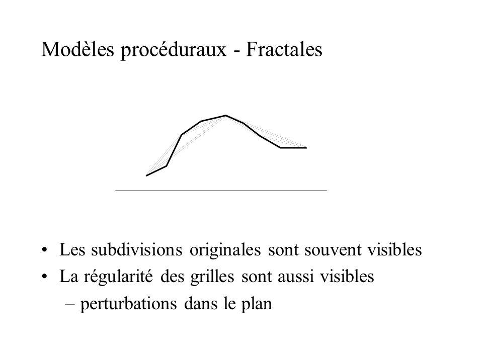 Modèles procéduraux - Fractales Les subdivisions originales sont souvent visibles La régularité des grilles sont aussi visibles –perturbations dans le