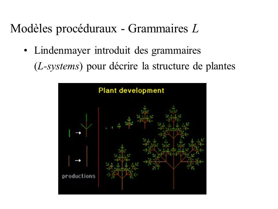 Modèles procéduraux - Grammaires L Lindenmayer introduit des grammaires (L-systems) pour décrire la structure de plantes