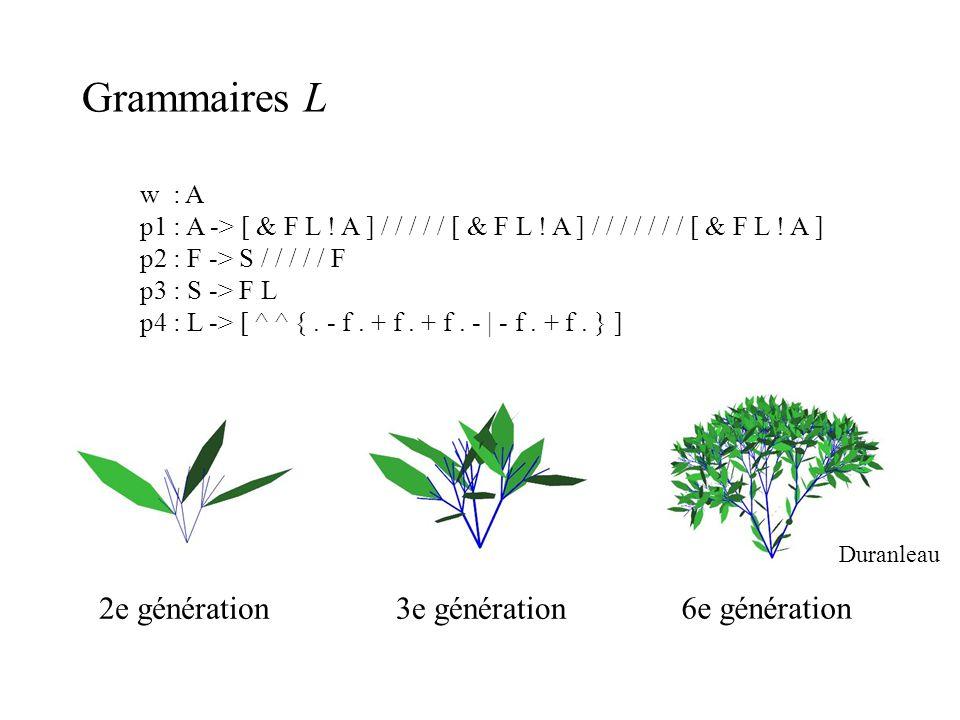 Grammaires L w : A p1 : A -> [ & F L ! A ] / / / / / [ & F L ! A ] / / / / / / / [ & F L ! A ] p2 : F -> S / / / / / F p3 : S -> F L p4 : L -> [ ^ ^ {