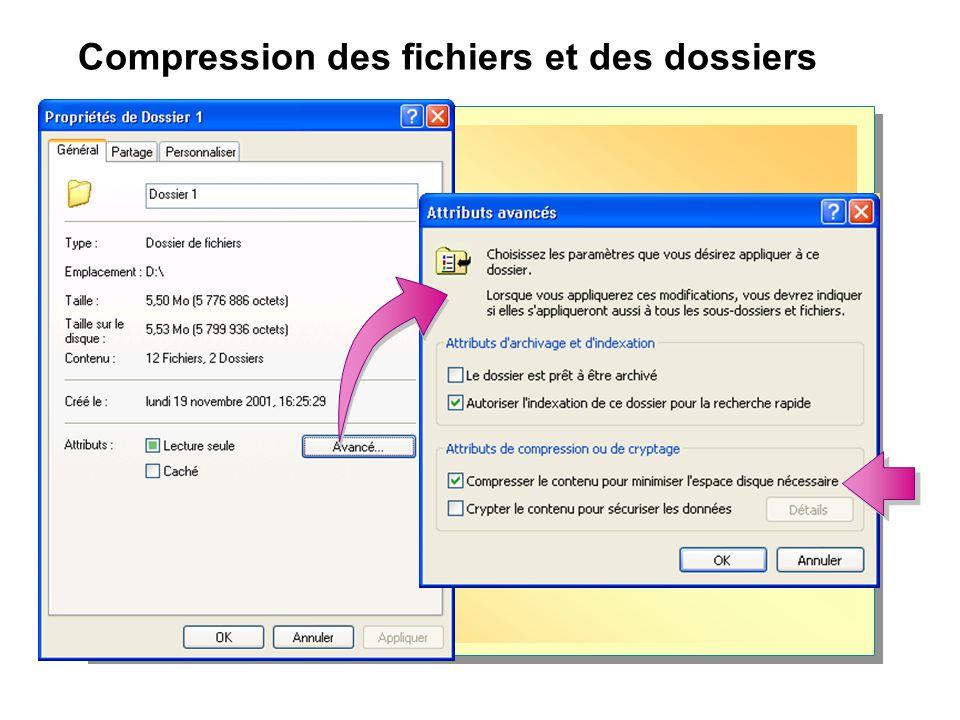 Compression des fichiers et des dossiers