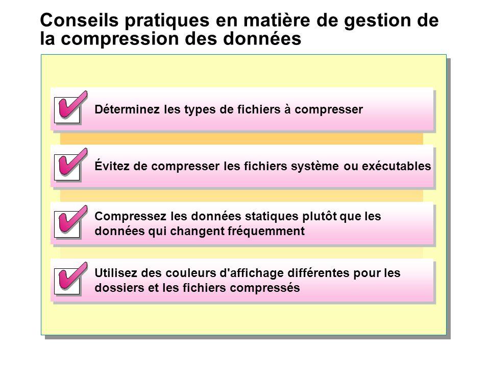 Conseils pratiques en matière de gestion de la compression des données Déterminez les types de fichiers à compresser Évitez de compresser les fichiers