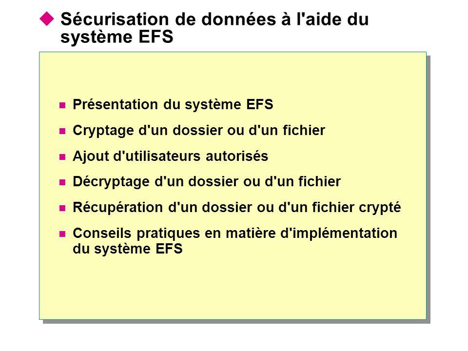  Sécurisation de données à l'aide du système EFS Présentation du système EFS Cryptage d'un dossier ou d'un fichier Ajout d'utilisateurs autorisés Déc