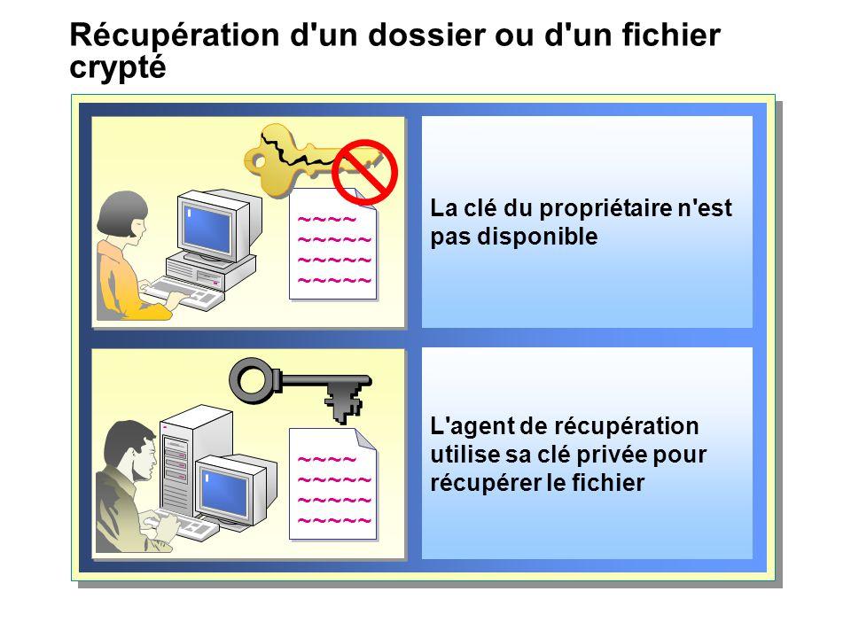 Récupération d'un dossier ou d'un fichier crypté La clé du propriétaire n'est pas disponible ~~~~ ~~~~~ ~~~~ ~~~~~ L'agent de récupération utilise sa