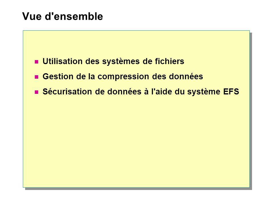Vue d'ensemble Utilisation des systèmes de fichiers Gestion de la compression des données Sécurisation de données à l'aide du système EFS