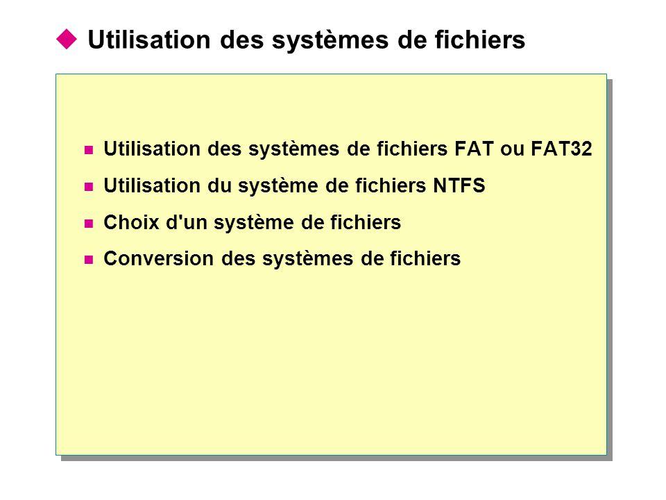  Utilisation des systèmes de fichiers Utilisation des systèmes de fichiers FAT ou FAT32 Utilisation du système de fichiers NTFS Choix d'un système de