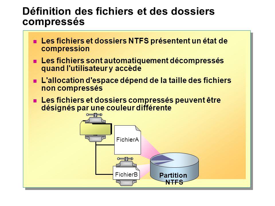 Définition des fichiers et des dossiers compressés Les fichiers et dossiers NTFS présentent un état de compression Les fichiers sont automatiquement d