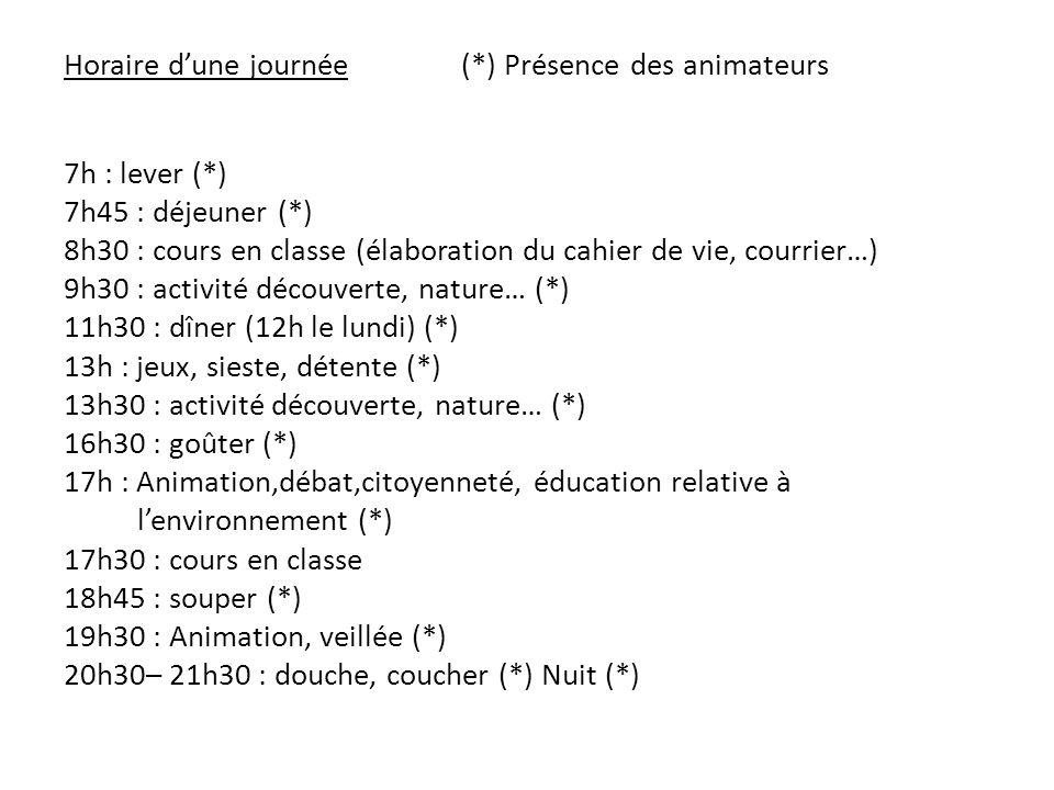Horaire d'une journée (*) Présence des animateurs 7h : lever (*) 7h45 : déjeuner (*) 8h30 : cours en classe (élaboration du cahier de vie, courrier…) 9h30 : activité découverte, nature… (*) 11h30 : dîner (12h le lundi) (*) 13h : jeux, sieste, détente (*) 13h30 : activité découverte, nature… (*) 16h30 : goûter (*) 17h : Animation,débat,citoyenneté, éducation relative à l'environnement (*) 17h30 : cours en classe 18h45 : souper (*) 19h30 : Animation, veillée (*) 20h30– 21h30 : douche, coucher (*) Nuit (*)