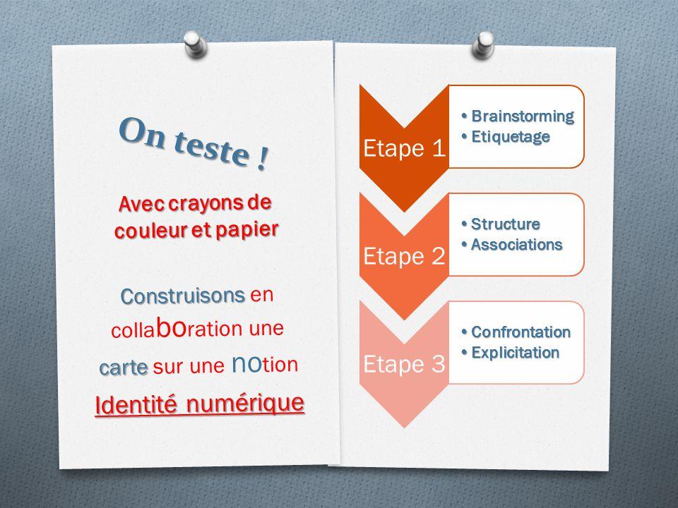 On teste ! Etape 1 BrainstormingBrainstorming EtiquetageEtiquetage Etape 2 StructureStructure AssociationsAssociations Etape 3 ConfrontationConfrontat