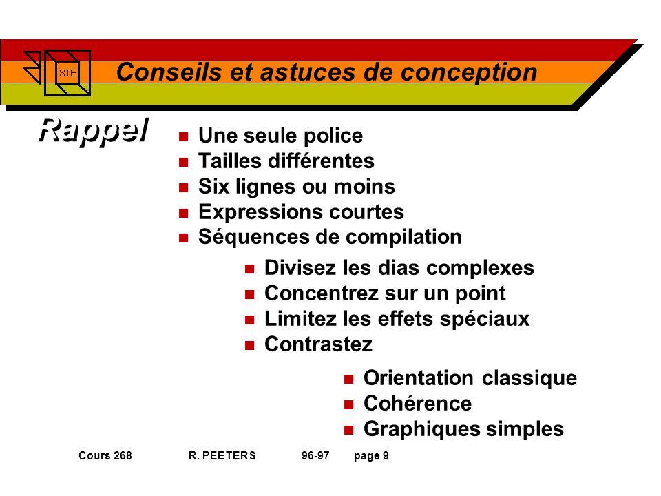 Cours 268 R. PEETERS 96-97page 9 Conseils et astuces de conception Rappel n Orientation classique n Cohérence n Graphiques simples n Une seule police