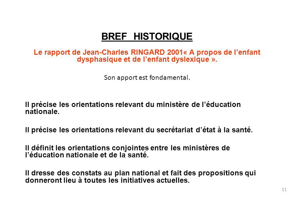 11 BREF HISTORIQUE Le rapport de Jean-Charles RINGARD 2001« A propos de l'enfant dysphasique et de l'enfant dyslexique ».