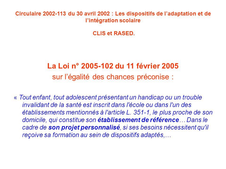 Circulaire 2002-113 du 30 avril 2002 : Les dispositifs de l'adaptation et de l'intégration scolaire CLIS et RASED.