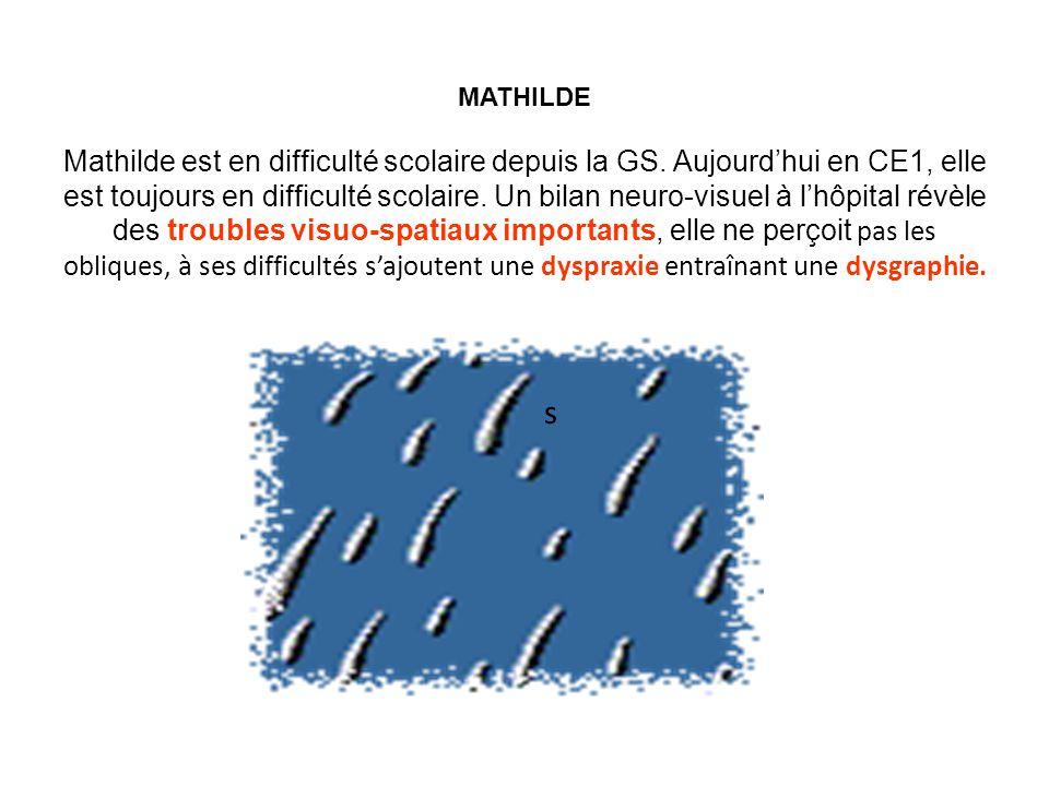 MATHILDE Mathilde est en difficulté scolaire depuis la GS.