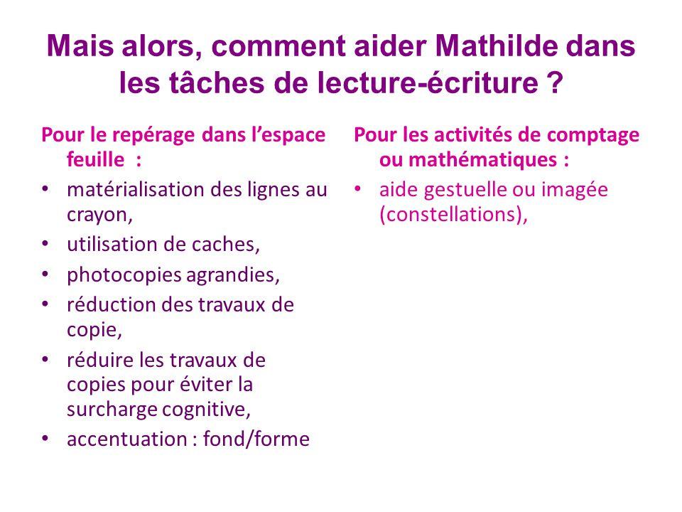 Mais alors, comment aider Mathilde dans les tâches de lecture-écriture .