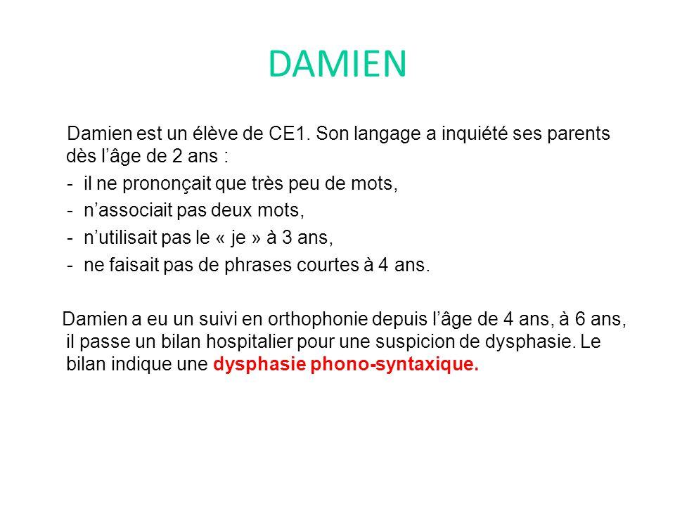 DAMIEN Damien est un élève de CE1.