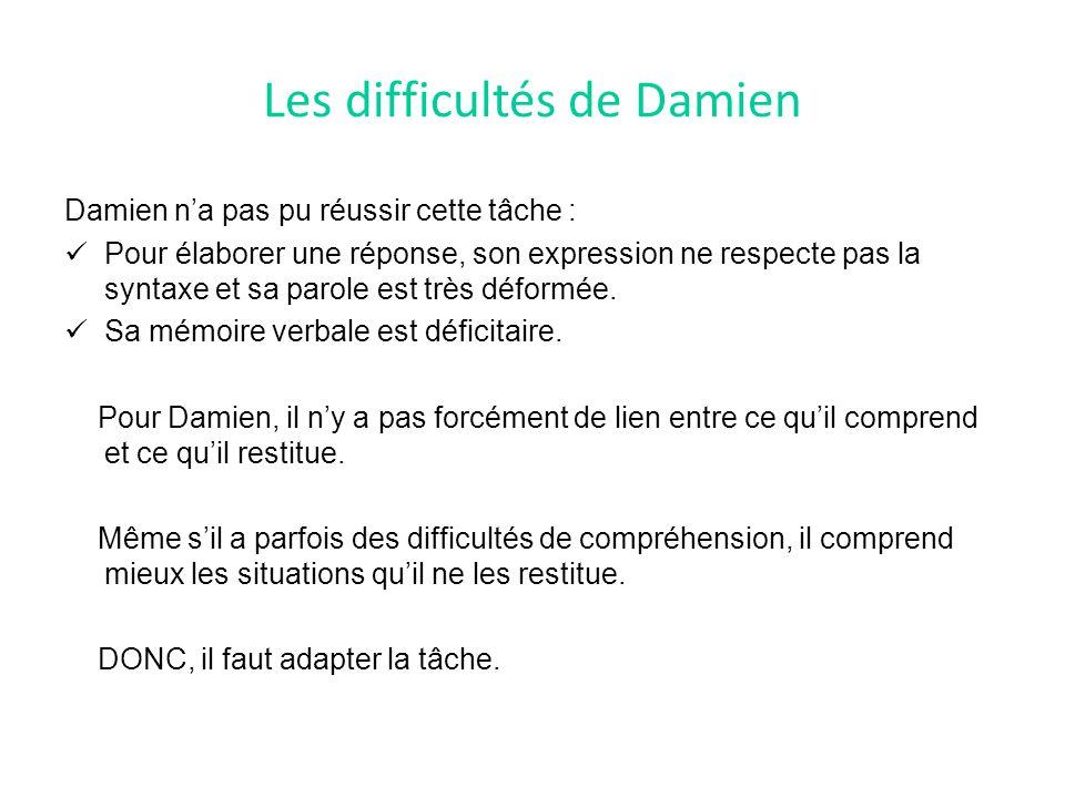 Les difficultés de Damien Damien n'a pas pu réussir cette tâche : Pour élaborer une réponse, son expression ne respecte pas la syntaxe et sa parole est très déformée.