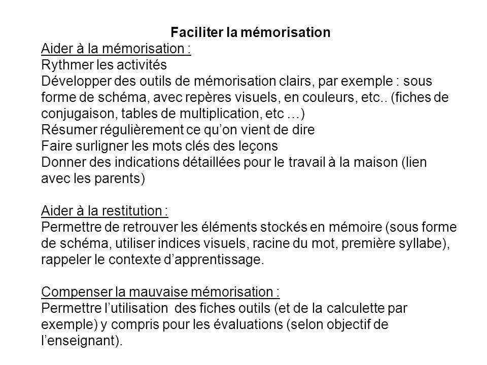 Faciliter la mémorisation Aider à la mémorisation : Rythmer les activités Développer des outils de mémorisation clairs, par exemple : sous forme de schéma, avec repères visuels, en couleurs, etc..