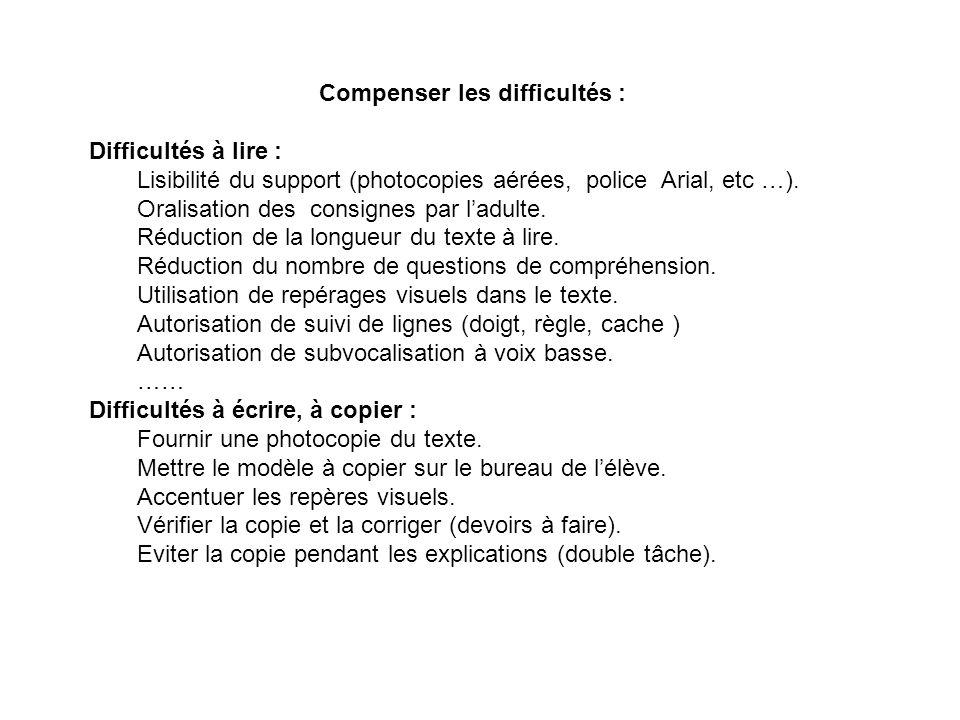 Compenser les difficultés : Difficultés à lire : Lisibilité du support (photocopies aérées, police Arial, etc …).
