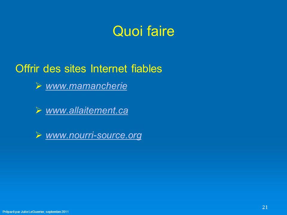 21 Quoi faire Offrir des sites Internet fiables   www.mamancheriewww.mamancherie   www.allaitement.cawww.allaitement.ca   www.nourri-source.orgwww.nourri-source.org Préparé par Julie LeGuerrier, septembre 2011