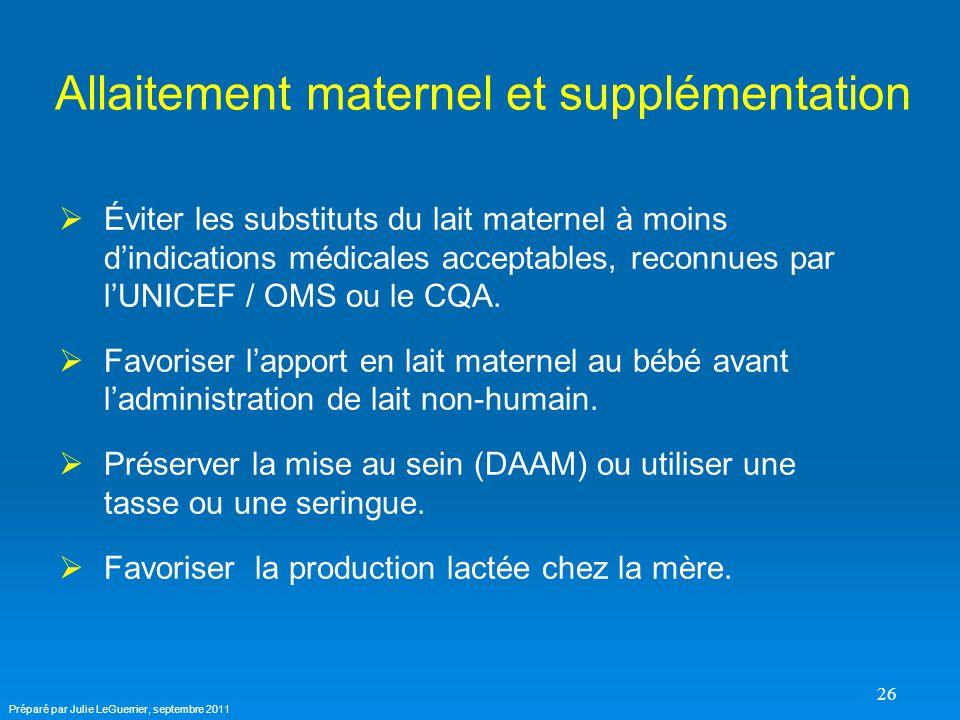 26 Allaitement maternel et supplémentation   Éviter les substituts du lait maternel à moins d'indications médicales acceptables, reconnues par l'UNICEF / OMS ou le CQA.