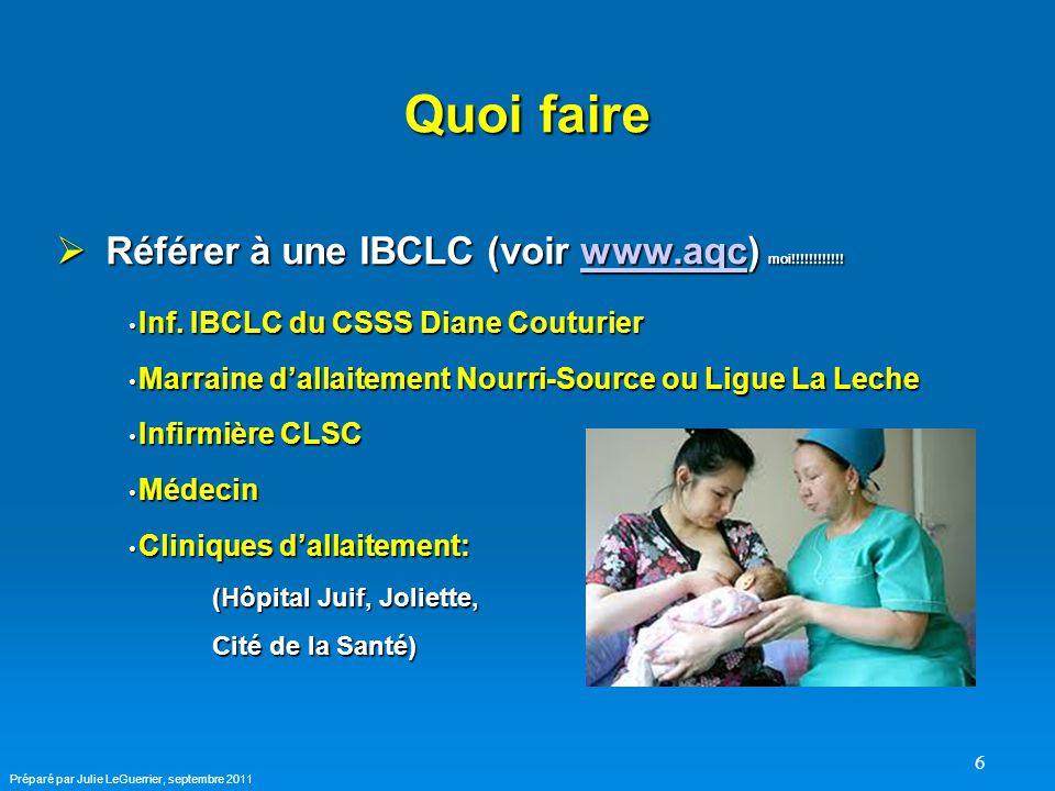 6 Quoi faire  Référer à une IBCLC (voir www.aqc) moi!!!!!!!!!!!.