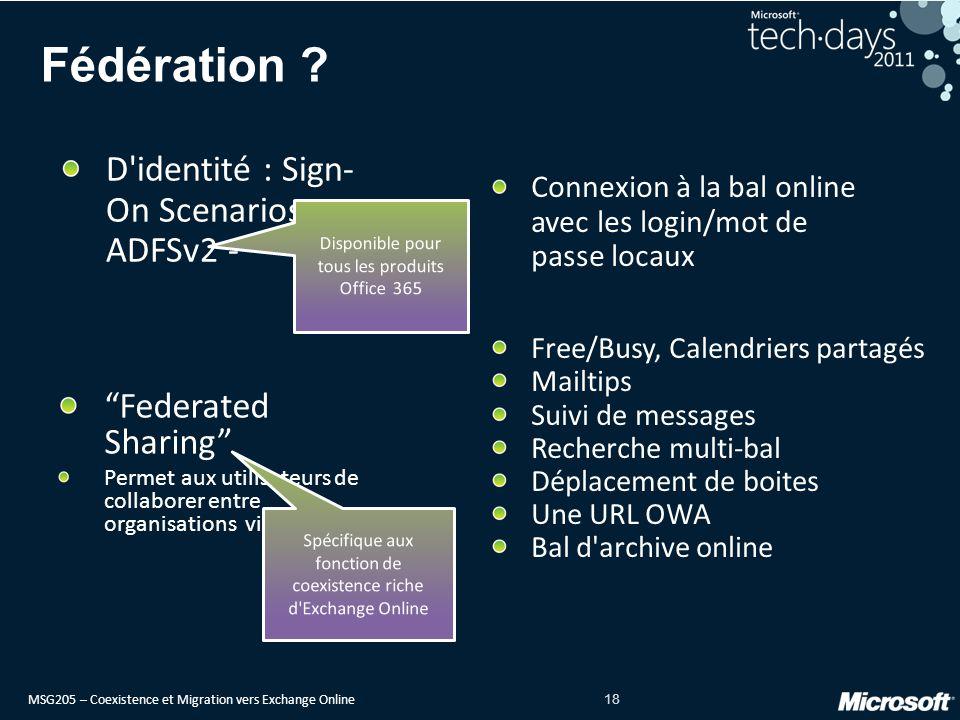 MSG205 – Coexistence et Migration vers Exchange Online 18 Fédération .