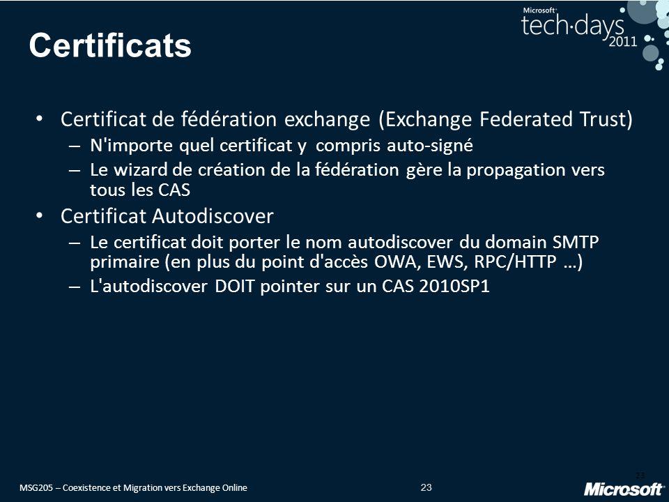MSG205 – Coexistence et Migration vers Exchange Online 23 Certificats Certificat de fédération exchange (Exchange Federated Trust) – N importe quel certificat y compris auto-signé – Le wizard de création de la fédération gère la propagation vers tous les CAS Certificat Autodiscover – Le certificat doit porter le nom autodiscover du domain SMTP primaire (en plus du point d accès OWA, EWS, RPC/HTTP …) – L autodiscover DOIT pointer sur un CAS 2010SP1 23