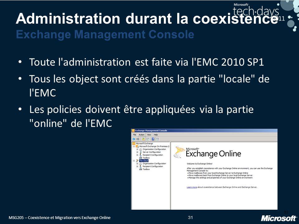 MSG205 – Coexistence et Migration vers Exchange Online 31 Toute l administration est faite via l EMC 2010 SP1 Tous les object sont créés dans la partie locale de l EMC Les policies doivent être appliquées via la partie online de l EMC 31