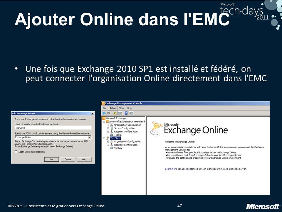 MSG205 – Coexistence et Migration vers Exchange Online 47 Ajouter Online dans l EMC Une fois que Exchange 2010 SP1 est installé et fédéré, on peut connecter l organisation Online directement dans l EMC 47