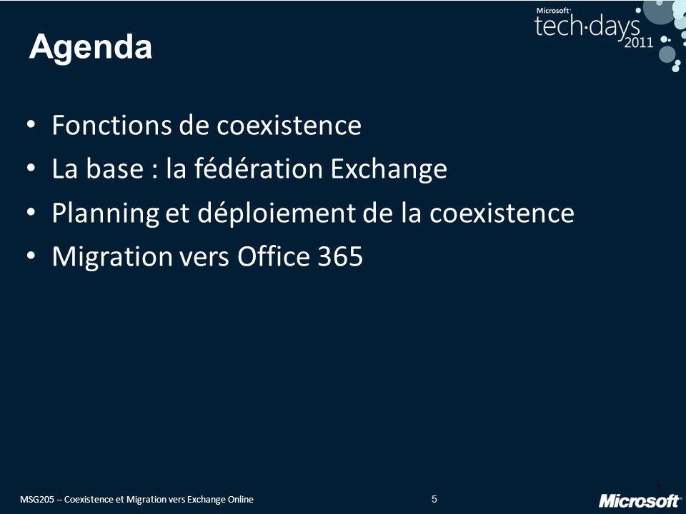 MSG205 – Coexistence et Migration vers Exchange Online 5 Agenda Fonctions de coexistence La base : la fédération Exchange Planning et déploiement de la coexistence Migration vers Office 365 5