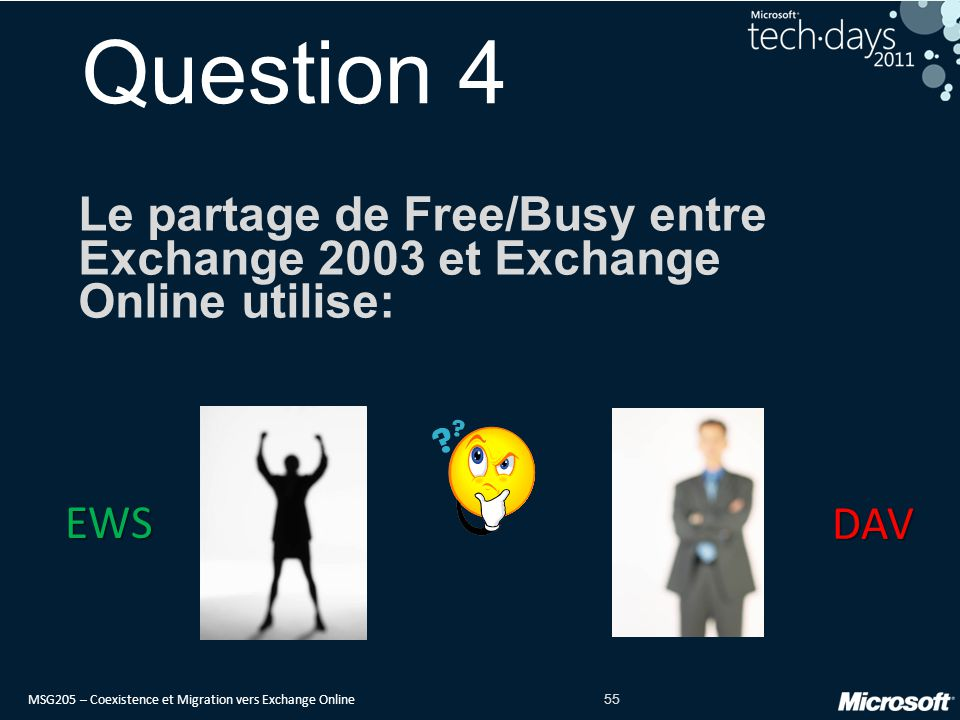 MSG205 – Coexistence et Migration vers Exchange Online 55 Question 4 Le partage de Free/Busy entre Exchange 2003 et Exchange Online utilise: EWS DAV