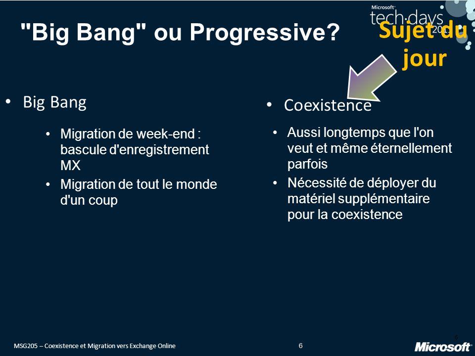 MSG205 – Coexistence et Migration vers Exchange Online 6 Big Bang ou Progressive.