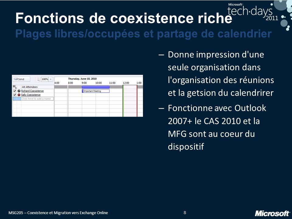 MSG205 – Coexistence et Migration vers Exchange Online 9 MailTips inter-org – Donne l impression d une seule org : les externes sont bien reconnus.