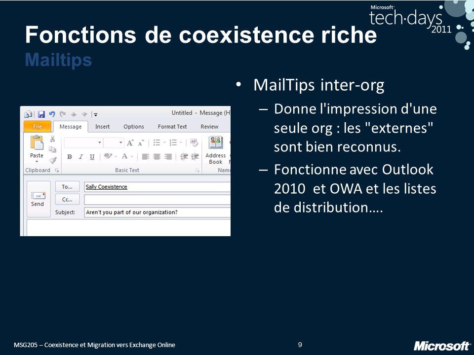 MSG205 – Coexistence et Migration vers Exchange Online 10 Le suivi de message entre l entreprise et le Cloud fonctionne correctement dans les deux sens jusqu à la sortie vers Internet – Fidélité identique à l interne suivant les versions d Exchange