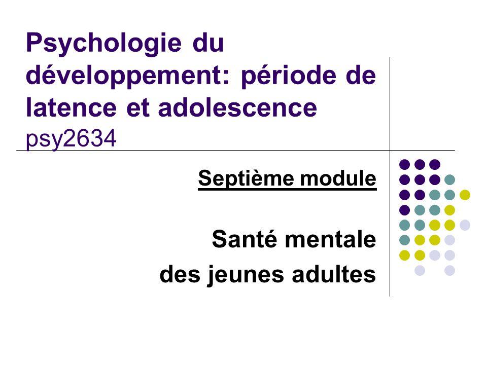 Septième module Santé mentale des jeunes adultes Psychologie du développement: période de latence et adolescence psy2634