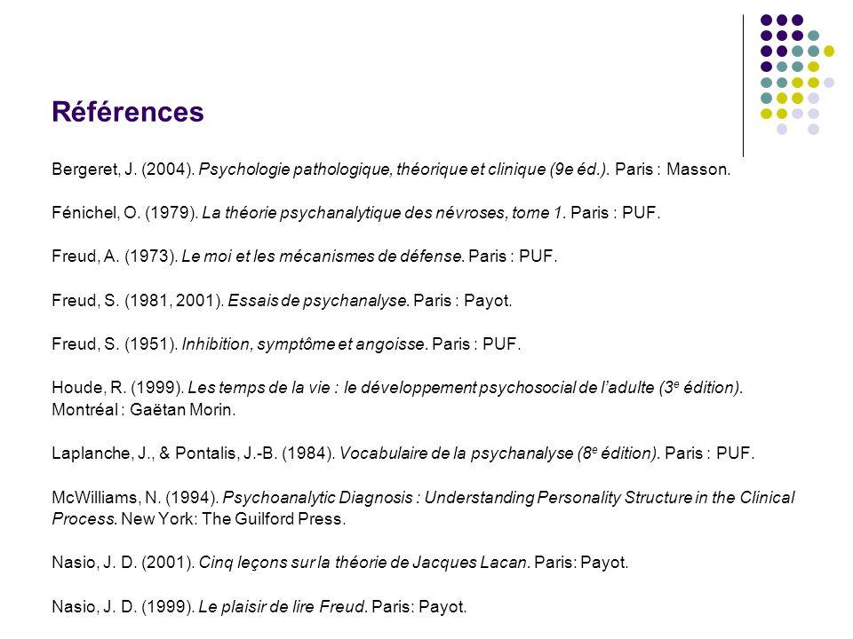 Références Bergeret, J. (2004). Psychologie pathologique, théorique et clinique (9e éd.). Paris : Masson. Fénichel, O. (1979). La théorie psychanalyti