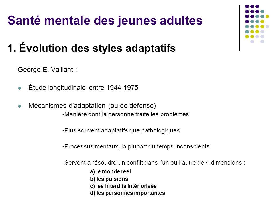 1. Évolution des styles adaptatifs George E. Vaillant : Étude longitudinale entre 1944-1975 Mécanismes d'adaptation (ou de défense) -Manière dont la p
