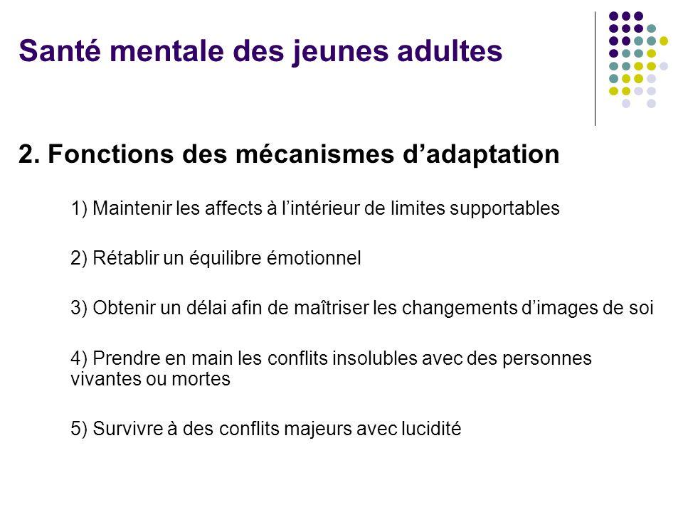 2. Fonctions des mécanismes d'adaptation 1) Maintenir les affects à l'intérieur de limites supportables 2) Rétablir un équilibre émotionnel 3) Obtenir