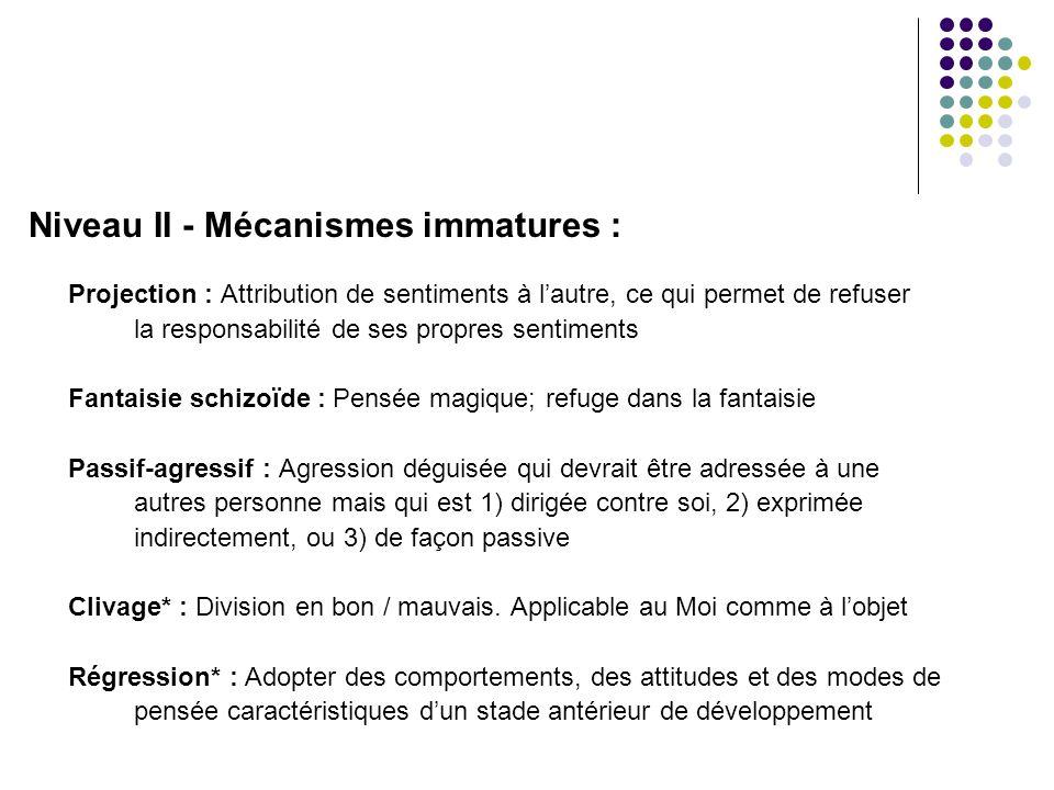 Niveau II - Mécanismes immatures : Projection : Attribution de sentiments à l'autre, ce qui permet de refuser la responsabilité de ses propres sentime