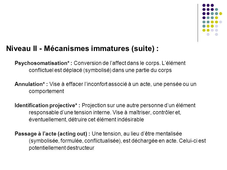 Niveau II - Mécanismes immatures (suite) : Psychosomatisation* : Conversion de l'affect dans le corps. L'élément conflictuel est déplacé (symbolisé) d
